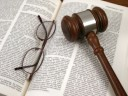 gavel, glasses, law book