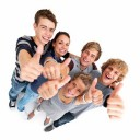 Top view of young friends showing thumbs up sign