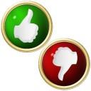 grüner JA Button und roter NEIN Button mit goldenem Rand