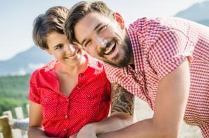 Portrait of happy young couple, Tyrol, Austria